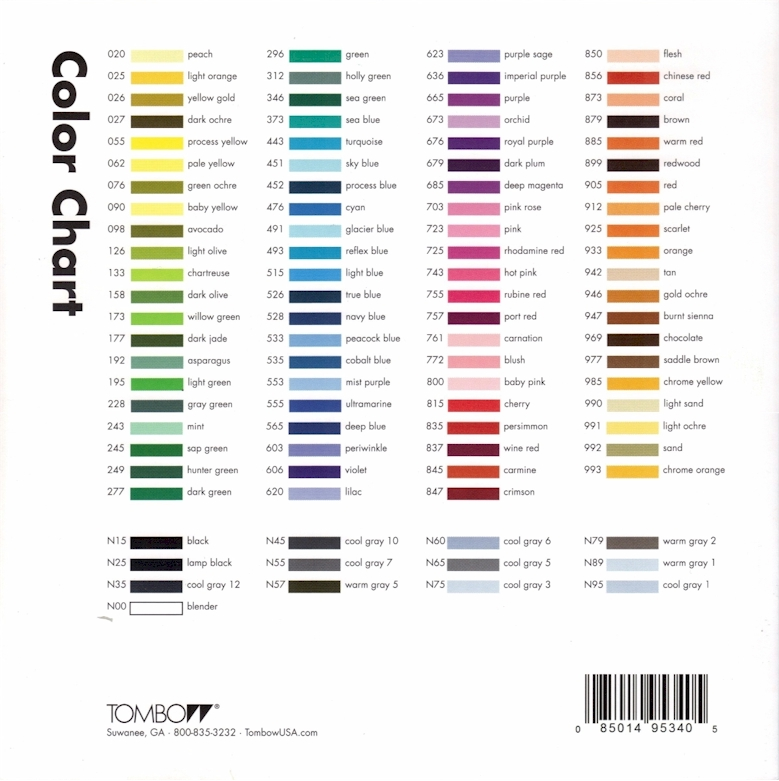 Tombow Color Chart 28 Images Sters Tombow Marker Chart