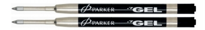 P8 30525  2-Pack Parker BLACK MEDIUM Gel Rollerball Pen refills for PARKER Ballpoint for Ballpoint Pen - one FREE with each $50 Parker pen purchased 30525PP