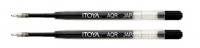 R0 30338 Box/DOZEN 2-Pack Itoya AQR-07 BLACK AquaRoller Pen refill 0.7mm PARKER - $1.96 ea -