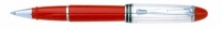 AU 00743 AURORA B74/CR STERLING SILVER CAP AND RED BARREL ROLLERBALL PEN