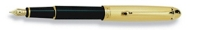 DS 00811 AURORA 811 GOLD PLATED CAP/BLACK BARREL SMALL FP PEN - Allow 3 weeks for delivery