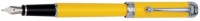 DS 01310 AURORA D13/Y TALENTUM FINESSE YELLOW CHROME TRIM FOUNTAIN PEN MEDIUM 14KT NIB - Allow 3 weeks for delivery