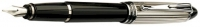 DS 03142 AURORA B14/CN-B STERLING SILVER CAP AND BLACK BARREL FOUNTAIN PEN Broad Nib