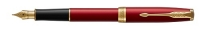1931473 Parker Sonnet Red Lacquer Gold Trim Fountain Pen F-nib Gift Box  - Allow 3 days to ship