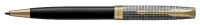 1931540 Parker Sonnet Sterling Black & Silver Gold Trim Ballpoint Pen Gift Box - Allow 3 days to ship