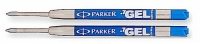 P9 30526 2-Pack Parker BLUE MEDIUM Gel Roller Pen refills for Ballpoint Pen - one FREE with each $50 Parker pen purchased  30526PP