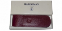 71007 Waterman LEATHER 2-PEN POUCH BORDEAUX Embossed Pouch