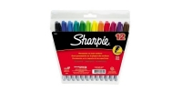 SS 30072 12-Pack SHARPIE FINE PERMANENT MARKER POUCH AQ BERRY BK BL BR GR LM OR PU RD TQ YE - $0.68 ea -